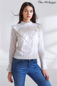 Miss Selfridge Broidery Ruffle Blouse