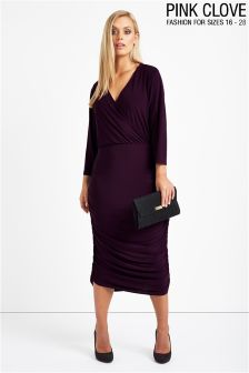 Pink Clove Slinky Wrap Front Gathered Side Midi Dress