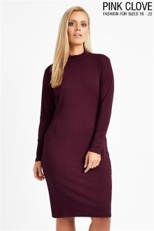 Pink Clove Rib Turtle Neck Bodycon Dress