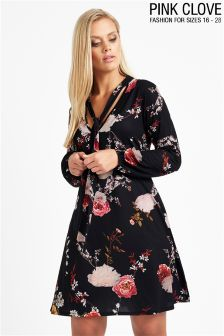 Pink Clove Plus Size Floral Swing Dress