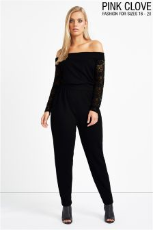 Pink Clove Bardot Jumpsuit With Lace Sleeve