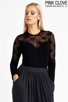 Pink Clove Plus Size Lace Paneled Long Sleeve Body