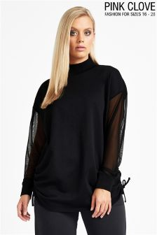Pink Clove Turtle Neck Gathered Sweat Top