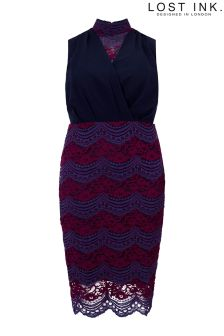 Lost Ink Curve Pencil Dress With Lace Skirt