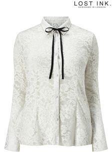 Lost Ink Curve Lace Bow Shirt