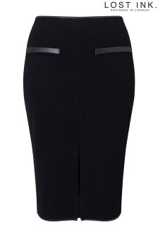 Lost Ink Curve Pencil Skirt