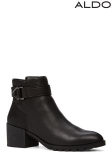 Aldo Buckle Heeled Boots