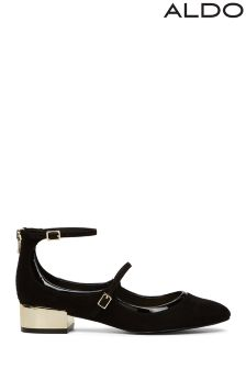 Aldo Low Block Strap Detail Heeled Ballerinas