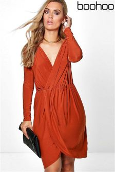 Boohoo Plus Wrap Front Dress