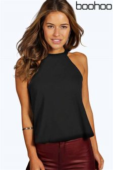 Boohoo Petite High Neck Strap Top