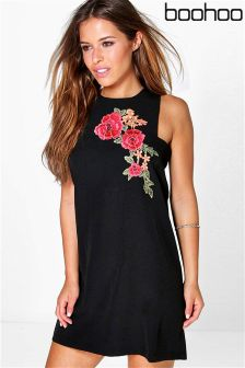 Boohoo Petite Embroidered Shift Dress