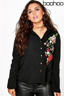 Boohoo Plus Embroidered Shirt