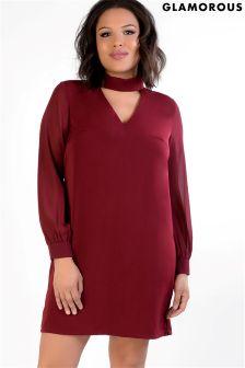 Glamorous Curve Choker Neck Shift Dress