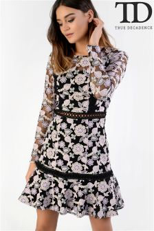 True Decadence Lace Floral Skater Dress