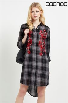 Boohoo Embroidered Front Check Shirt Dress