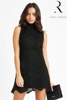 Rare High Neck Lace Mini Dress