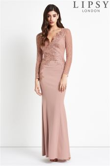 Lipsy Embroidered Lace Maxi Dress