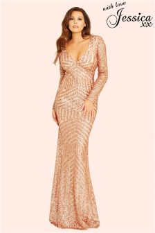 Jessica Wright Sequin Embellished Maxi Dress