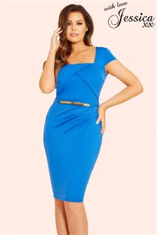 Jessica Wright Pleated Wrap Bodycon Dress