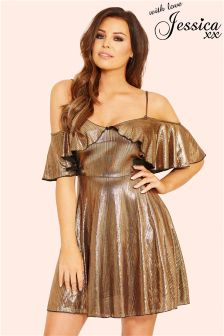 Jessica Wright Frill Detail Metallic Cami Dress