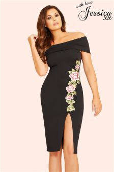 Jessica Wright Floral Bardot Bodycon Dress