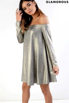 Glamorous Petite Metallic Bardot Swing Dress
