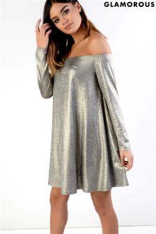 Glamorous Petite Metallic Bardot Swing Dress