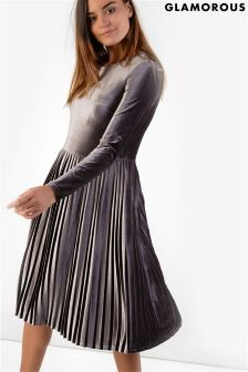 Glamorous Metallic Pleated Dress