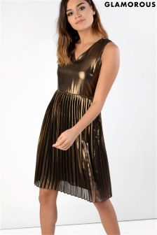 Glamorous High Shine Metallic Pleated Dress
