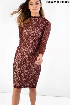 Glamorous Lace Midi Bodycon Dress