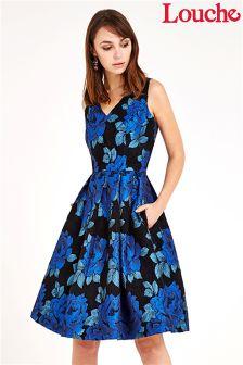Louche Luxe Metallic Floral Jacquard Dress