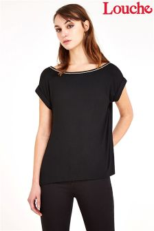 Louche Diamante Trim Jersey Top