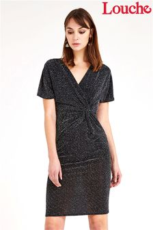 Louche Metallic Fleck Twist Waist Dress
