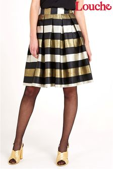 Louche Luxe Metallic Stripe Skirt