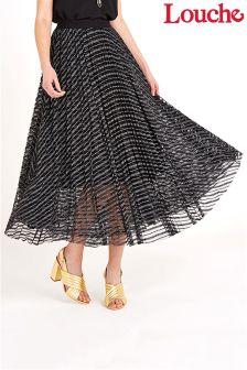 Louche Lurex Net Midi Elastic Waist Skirt