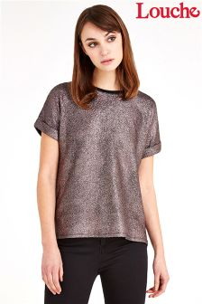 Louche Textured Turn Cuff Rib Neck Top