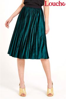 Louche Velvet Pleated Midi Skirt