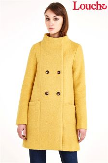Louche Double Breasted Funnel Neck Coat