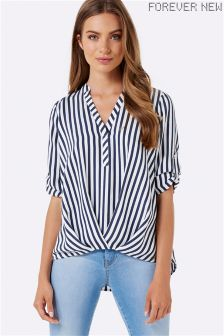 Forever New Tuck Front Stripe Blouse