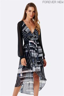 Forever New Wrap Front Stripe Dress