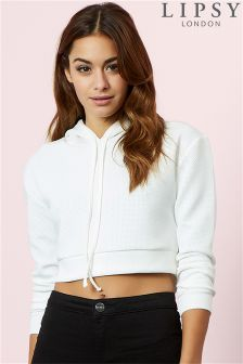 Lipsy Airtex Crop Hooded Sweatshirt