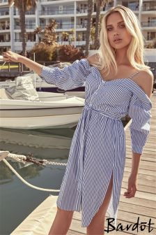 Bardot Cold Shoulder Shirt Dress