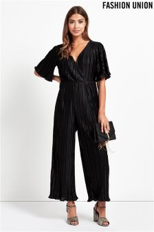 Fashion Union Petite Wrap Front Jumpsuit