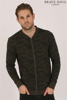 Bravesoul All Over Camo Print Bomber Jacket