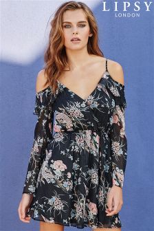 Lipsy Glitter Lurex Print Cold Shoulder Skater Dress