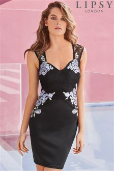 Lipsy Floral Embroidery Appliqué Bodycon Dress