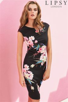 Lipsy Oriental Floral Print Pencil Dress