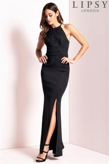 Lipsy High Neck Cornelli Trim Maxi Dress