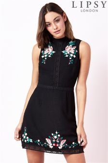 Lipsy High Neck Embroidery Bodycon Dress