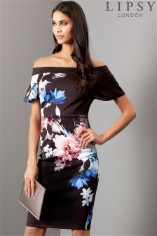Lipsy Floral Printed Bardot Bodycon Dress
